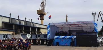 На Находкинском судоремонтном заводе в Приморье торжественно заложили шесть краболовов для ГК «Антей» и два - для компании «ТРК»