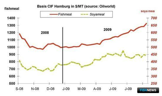 Рис. 7. Динамика цены на рыбную муку в 2008-2009 гг., долл./тн. на условиях СИФ Гамбург