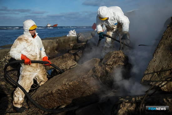 От нефтепродуктов очистили берег напротив судна. Фото пресс-службы правительства Сахалинской области