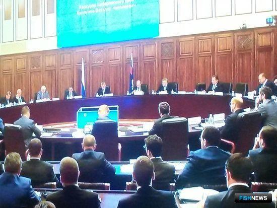 В Хабаровске проходит совместное заседание коллегий Генпрокуратуры и Минвостокразвития на тему рыбного хозяйства.