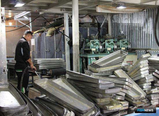В цехах базы «ДВ Рыбпром» моют и убирают оборудование