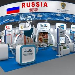 Макет объединенного российского стенда на China Fisheries & Seafood Expo. Изображение предоставлено пресс-службой ГК «Приморская рыболовная компания»