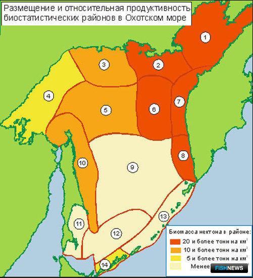 Рис. 1. Стандартные районы осреднения биостатистической информации в Охотском море. Интенсивностью цвета обозначена относительная удельная плотность нектона в отдельных биостатистический районах