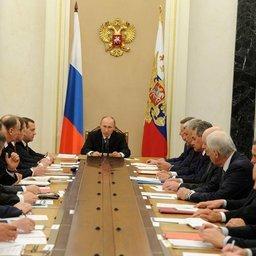 Заседание Совета безопасности по вопросу реализации государственной политики в Арктике. Фото пресс-службы Президента РФ.