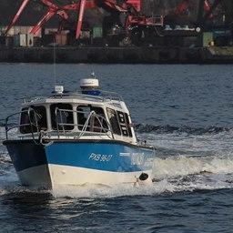 В порту Ванино спустили на воду полицейский катер. Фото пресс-службы Управления на транспорте МВД России по ДФО