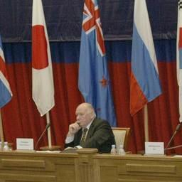 Юрий КОКОРЕВ в президиуме Первого международного съезда рыбаков