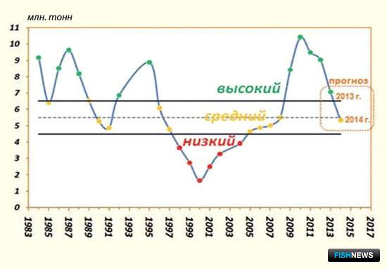Динамика нерестового запаса минтая в северной части Охотского моря по данным ТИНРО