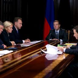 Премьер-министр Дмитрий МЕДВЕДЕВ на совещании со своими заместителями. Фото пресс-службы Правительства РФ