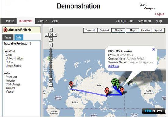 Пользовательский интерфейс интернет-системы «прослеживаемости». Карта прохождения продукта.