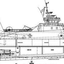Боковой вид современного траулера с длиной между перпендикулярами около 34 м шириной 10,2 м и обьемом трюма около 400 куб.м