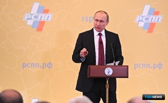 Президент Владимир ПУТИН на пленарном заседании съезда Российского союза промышленников и предпринимателей. Фото пресс-службы Кремля