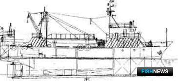 Для сравнения несколько проектов китайских верфей: Б) боковой вид нового проекта траулера китайской верфи длиной между перпендикулярами 33,9 х 10,0 м и обьемом трюма ок.360 куб.м (очень похожего на японские траулеры, которые строились в 70-х-начале 80-х г