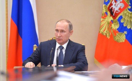 На совещании с членами Правительства РФ глава государства Владимир ПУТИН поинтересовался шагами по изменению законодательства в рыболовстве. Фото пресс-службы президента