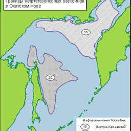 Рис. 2. Границы нефтегазоносных бассейнов в Охотском. Интенсивностью цвета обозначена относительная величина прогнозных запасов в Охотско-Камчатском и Сахалино-Охотском бассейнах