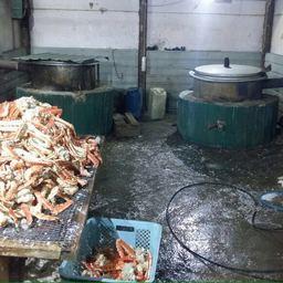 «Накрытый» месяц назад крабовый цех в поселке Славянка заработал снова. Фото пресс-группы погрануправления ФСБ России по Приморскому краю