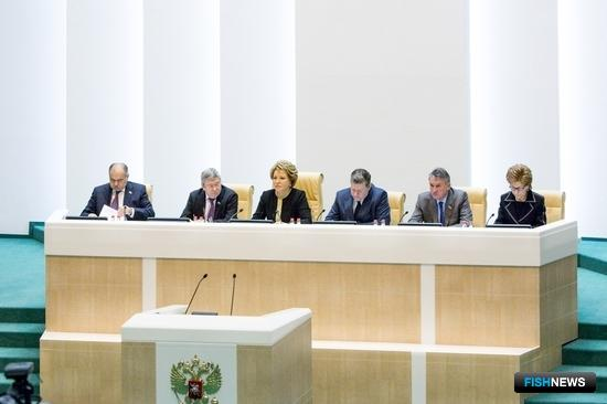 В рамках «часа субъекта» на 360-м заседании Совета Федерации состоялась презентация Камчатского края. Фото пресс-центра Совфеда