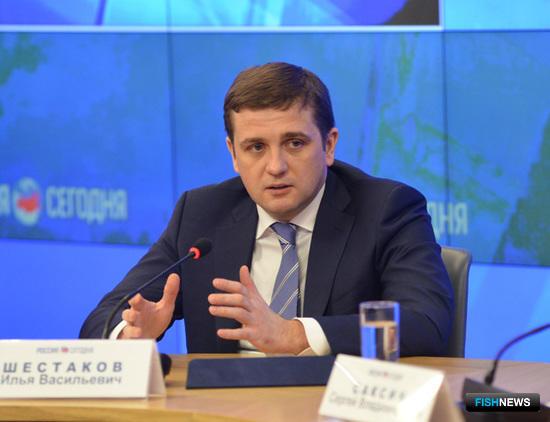 На пресс-конференции 11 марта руководитель Росрыболовства Илья ШЕСТАКОВ рассказал о положительной тенденции по импортозамещению. Фото пресс-службы Росрыболовства