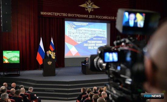 Президент Владимир Путин на расширенном заседании коллегии МВД. Фото пресс-службы Кремля