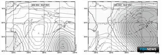 Рисунок 1. Среднее за период с декабря по март поле аномалии приземного давления в 2015 и 2016 гг.