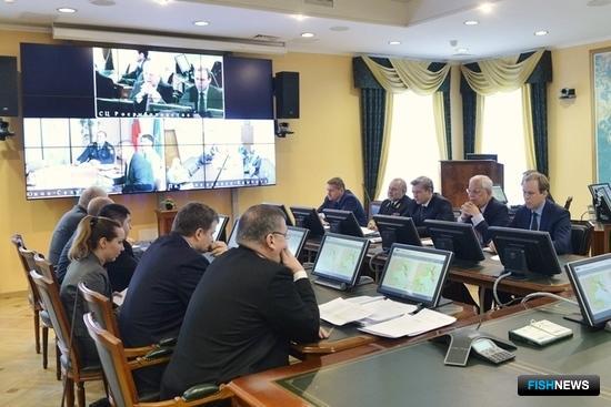 Заседание штаба охотоморской путины в Росрыболовстве. Фото пресс-службы ФАР