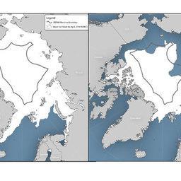 Слева - район открытого моря в центральной части Северного Ледовитого океана. Справа - зоны, свободные ото льда, в Центральной Арктике в сентябре 2012 г.