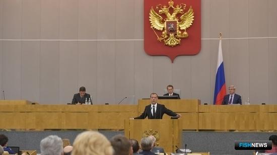 Премьер-министр Дмитрий МЕДВЕДЕВ выступил с отчетом о деятельности Правительства РФ в Госдуме. Фото пресс-службы Правительства РФ