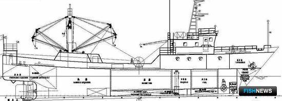 Для сравнения несколько проектов китайских верфей: А) боковой вид проекта траулера китайской верфи (построено несколько судов для камчатских заказчиков) длиной между перпендикулярами 33,0 х 7,7 м с обьемом трюма 135 куб.м.