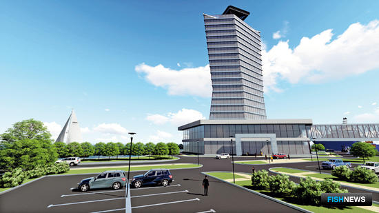Проект комплекса для аукционной и биржевой торговли рыбопродукцией, который планируется построить во Владивостоке