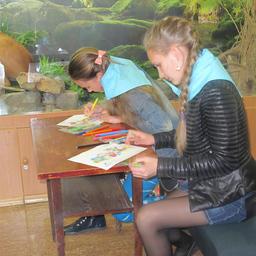 Участники раскрашивают картинку с лососем