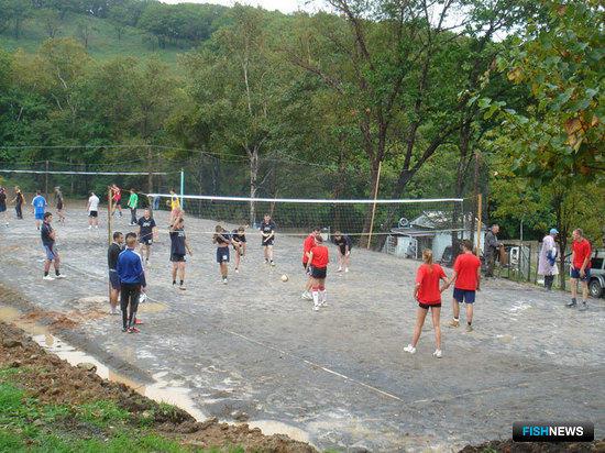 На площадке волейболисты Дальневосточного мореходного училища и ТИНРО-Центра