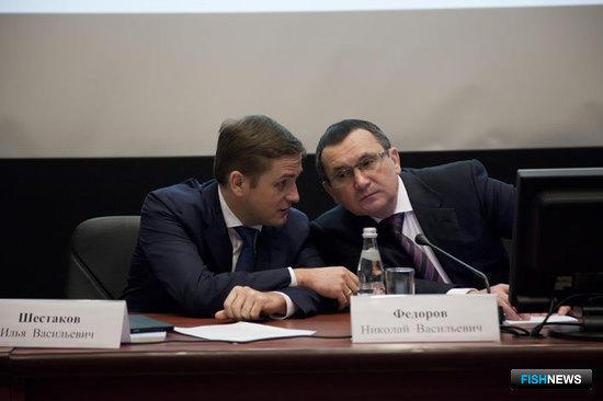 Министр сельского хозяйства РФ Николай Федоров и руководитель Федерального агентства по рыболовству Илья Шестаков
