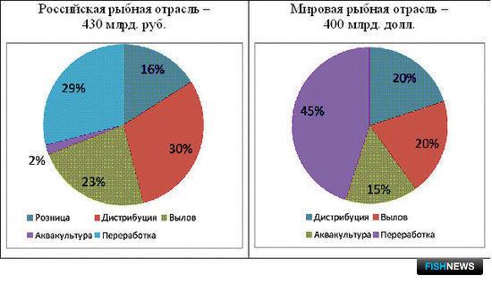 График 11 – Сравнение структуры оборота российской и мировой рыбной отрасли