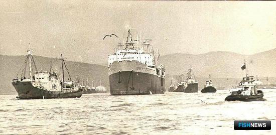 Китобойная флотилия «Советская Россия» выходит на промысел. Фото из личного архива Виктора Щербатюка