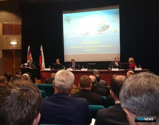 Министр сельского хозяйства Николай Федоров выступает на расширенном заседании коллегии Росрыболовства