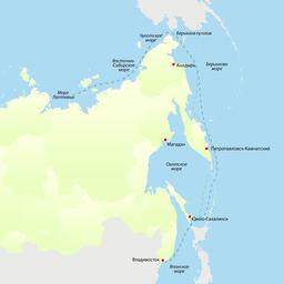Маршрут научно-исследовательского судна «ТИНРО». Фото пресс-службы Всероссийского НИИ рыбного хозяйства и океанографии