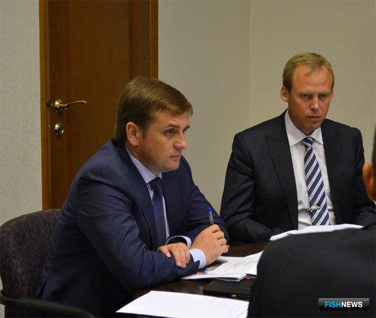 Руководитель Росрыболовства Илья ШЕСТАКОВ и заместитель руководителя Василий СОКОЛОВ