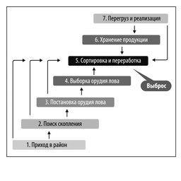 Рис. 2 Схема промыслового цикла рыбодобывающего судна, оборудованного технологической линией по переработке улова